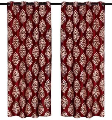 Zesture Polyester Red Damask Eyelet Door Curtain