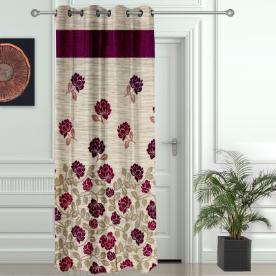 Story @ Home Jacquard Maroon Floral Eyelet Door Curtain