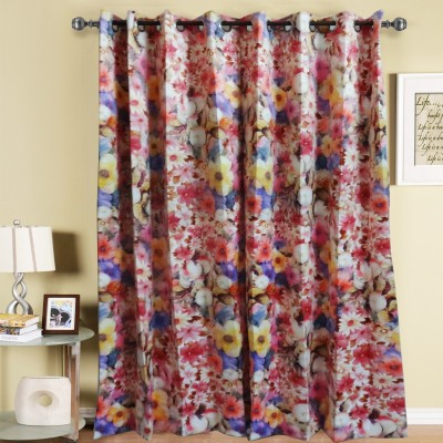 K Gallery Polyester Multicolor Floral Eyelet Door Curtain