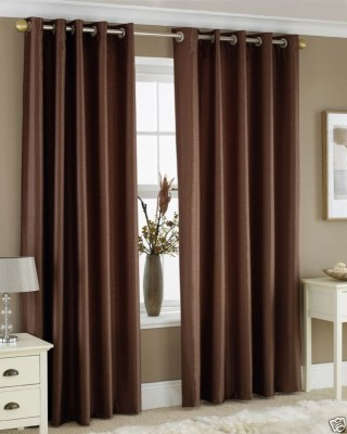 Homefab India Polyester Brown Solid Eyelet Door Curtain