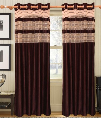 HandloomVilla Polyester Brown Solid Eyelet Door Curtain