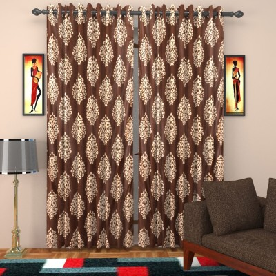 SurprizeMe Polyester Brown Printed Eyelet Door Curtain