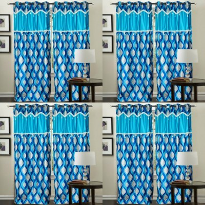 Decor Vatika Polyester Light Blue Abstract Eyelet Door Curtain