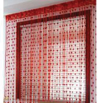 Ech Oly Polyester Red Self Design Eyelet Window & Door Curtain