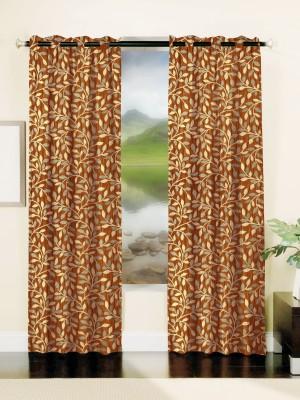Mahamantra Polyester Orange Floral Eyelet Window Curtain
