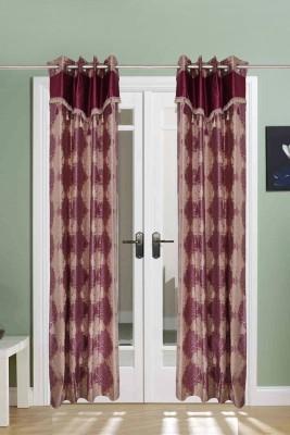The Handloom Store Polyester Purple Motif Eyelet Long Door Curtain