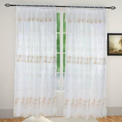 Muren Satin White Self Design Eyelet Door Curtain