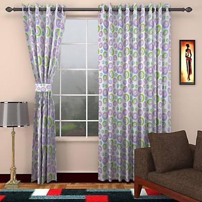 SEVEN STARS Cotton Purple/Green Abstract Eyelet Door Curtain