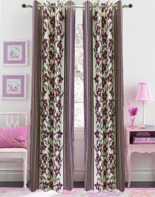 Urban Arts Polyester Pink Floral Eyelet Door Curtain