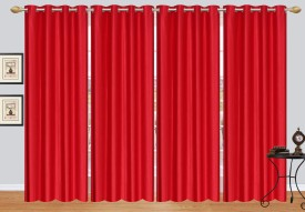 Fresh from Loom Polyester Red Plain Curtain Door Curtain(213 cm in Height, Pack of 4)