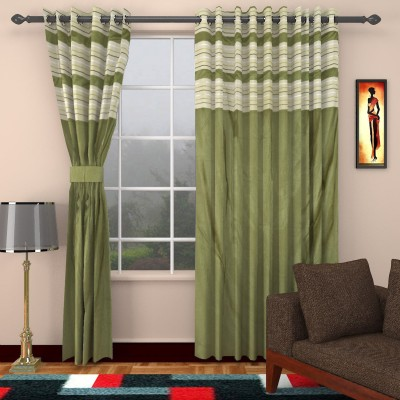 Jai Ganga Polyester Green Plain Eyelet Door Curtain
