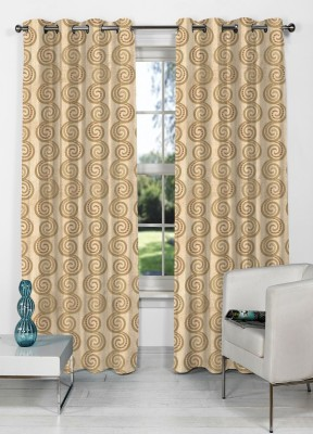 NuHome Decor Polyester Beige Abstract Eyelet Window Curtain