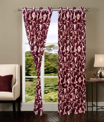 Home And Craft Polyester Maroon Printed Eyelet Door Curtain