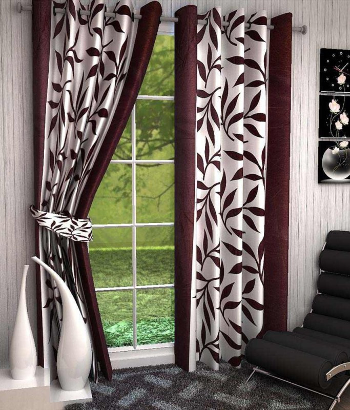 Optimistic Home Furnishing Polyester Brown Floral Eyelet Door Curtain(210 cm...