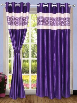 Wind Drape Polyester Purple Abstract Ring Rod Door Curtain
