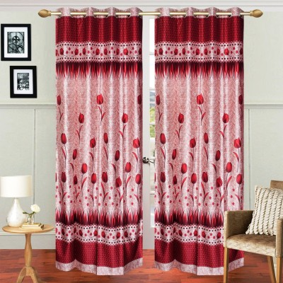 Fresh From Loom Polyester Red Floral Eyelet Door Curtain