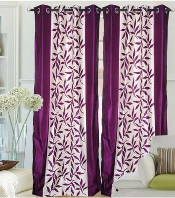 RK Home Furnishing Polycotton Purple Plain Eyelet Window Curtain