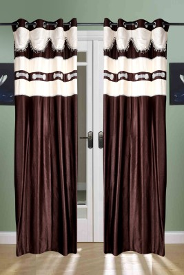 the handloom store Polyester Brown Self Design, Plain, Solid Eyelet Door Curtain
