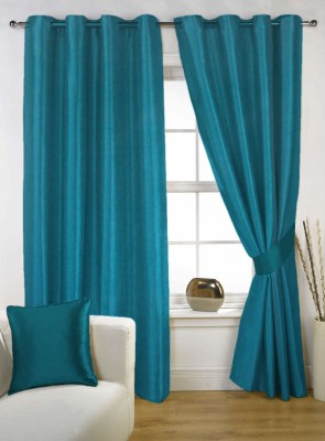 Kings Polycotton Blue Solid Eyelet Door Curtain