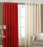 Excel Bazaar Polyester Red, Cream Plain Eyelet Door Curtain(212 cm in Height, Pack of 2)