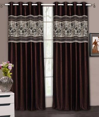Home Aid Satin Brown Plain Ring Rod Door Curtain