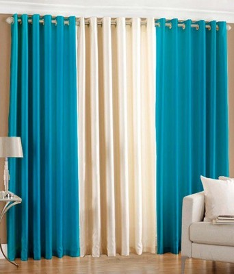 Deco Home Polyester Aqua With Cream Plain Eyelet Door Curtain
