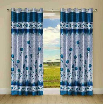 Fresh From Loom Polyester Blue Floral Curtain Long Door Curtain