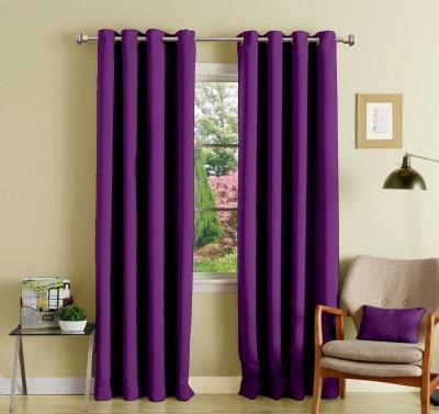 Lushomes Polyester Wine Plain Eyelet Long Door Curtain