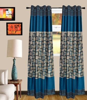 MF Blends Acqa Blue Geometric Eyelet Window Curtain