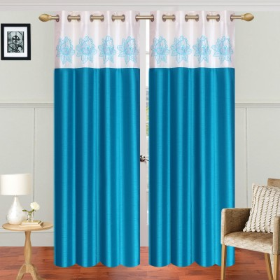 Abhi Decor Polyester Light Blue Embroidered Curtain Window Curtain