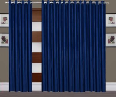 Thiwas Polyester Blue Plain Eyelet Long Door Curtain