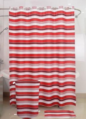 Skap Polyester White Striped Ring Rod Shower Curtain