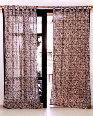Ocean Homestore Cotton Brown Floral Eyelet Window Curtain