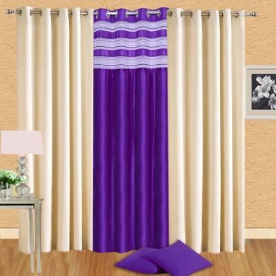Handloomhub Polyester Multicolor Solid Eyelet Long Door Curtain