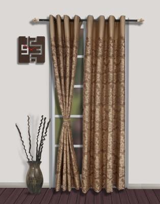 S9home by Seasons Polyester Brown Motif Eyelet Door Curtain