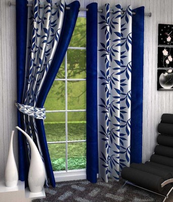 Chaitnya Handloom Polyester Blue Floral Eyelet Door Curtain