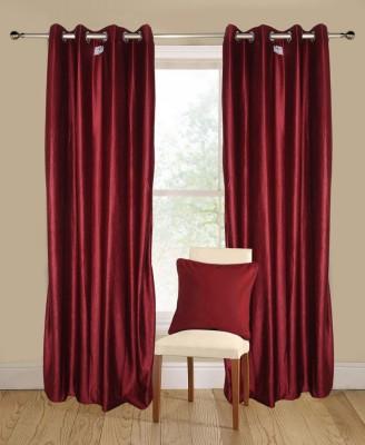 Shopping Fever Polyester Maroon Plain Eyelet Window & Door Curtain