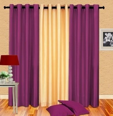 Cortina Polyester Purple Plain Eyelet Door Curtain
