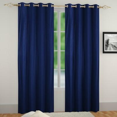 Muren Polyester Navy Blue Self Design Eyelet Door Curtain