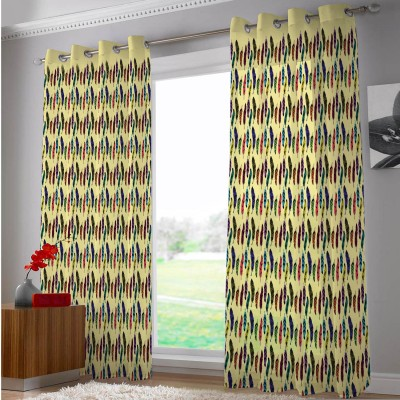 Right Polyester Multicolor Abstract Eyelet Door Curtain