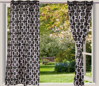 Desire Polyester Green Geometric Eyelet Long Door Curtain