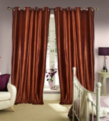 Chaitnya Handloom Polyester Brown Plain Eyelet Door Curtain