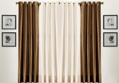 Thiwas Polyester Brown, Cream Solid Eyelet Door Curtain