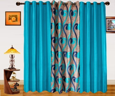Dekor World Polyester Blue Abstract Eyelet Long Door Curtain