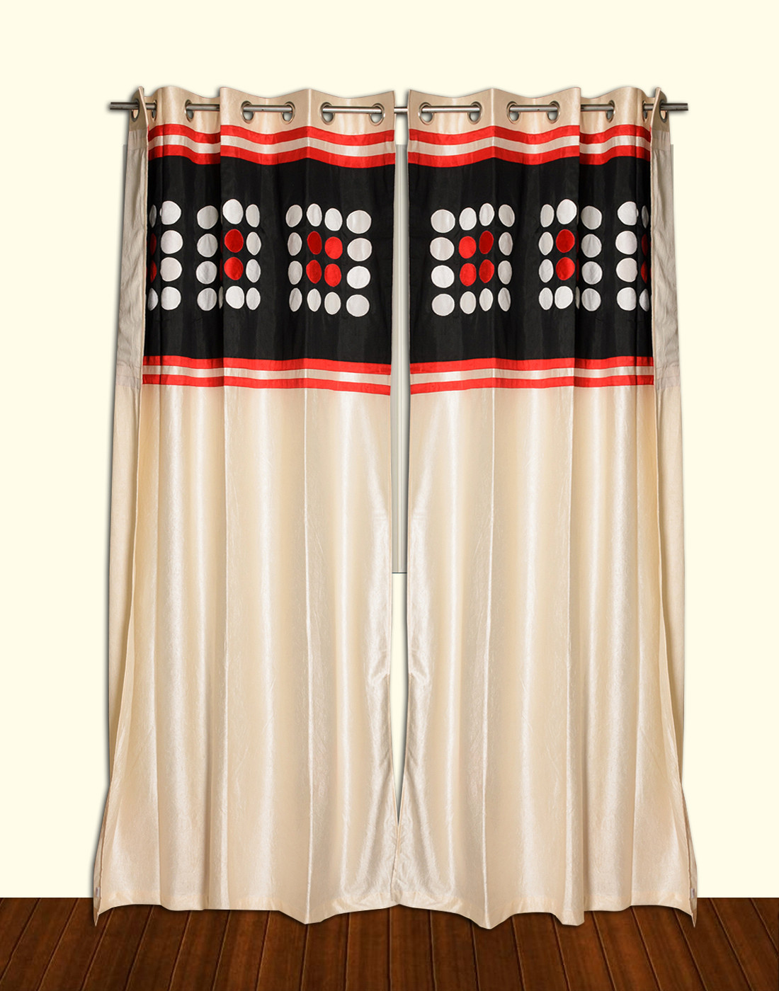 Isha Collections Multicolor Solid Eyelet Door Curtain