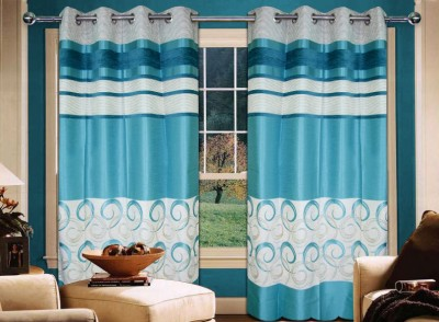 Home Creations Polyester Blue Floral Eyelet Door Curtain