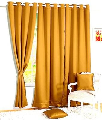 shivamconcepts Polyester golden Plain Eyelet Window & Door Curtain