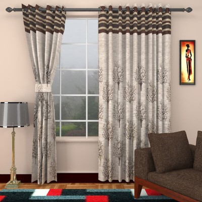 Raj Shobha Home decor Polyester Maroon Abstract Eyelet Door Curtain