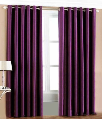 MSJ Polyester Purple Solid Eyelet Door Curtain