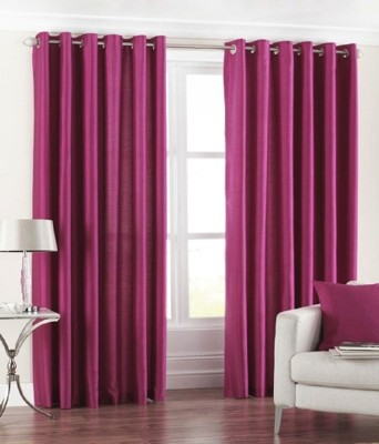 PHM Polyester Maroon Floral Eyelet Door Curtain